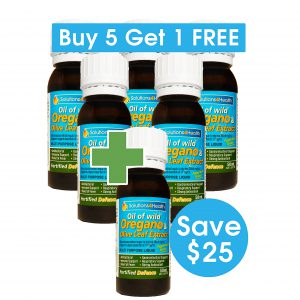 5 Plus 1 Bundle – 6 x 50ml Bottles of Oil of Wild Oregano & Olive Leaf Extract – Fortified Defence (Save $25)